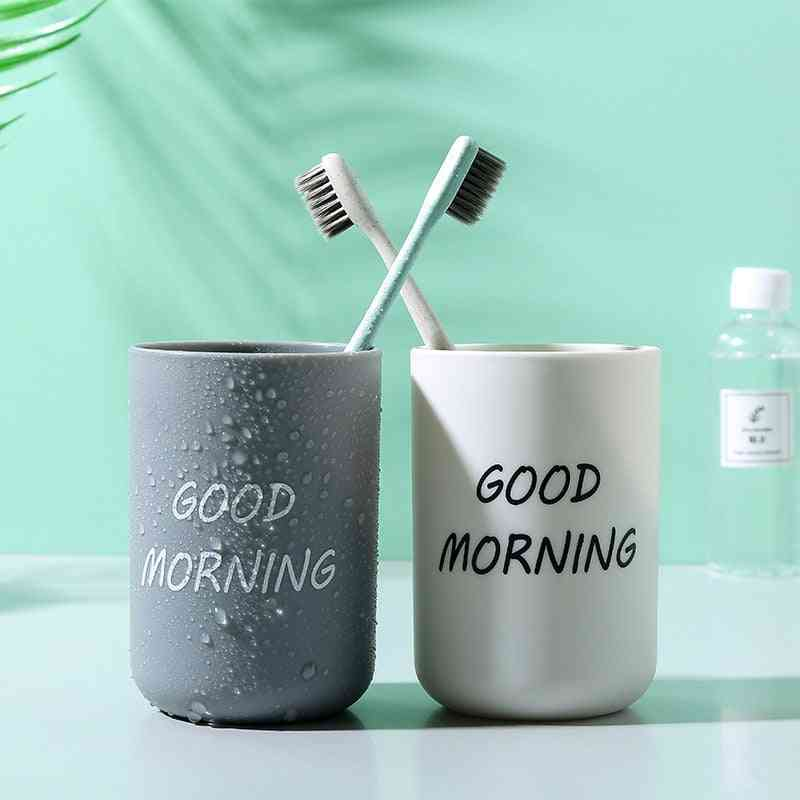 Plastic Bathroom Simple Plain Portable Couple Tooth Cup, Toothbrush, Storage Holder