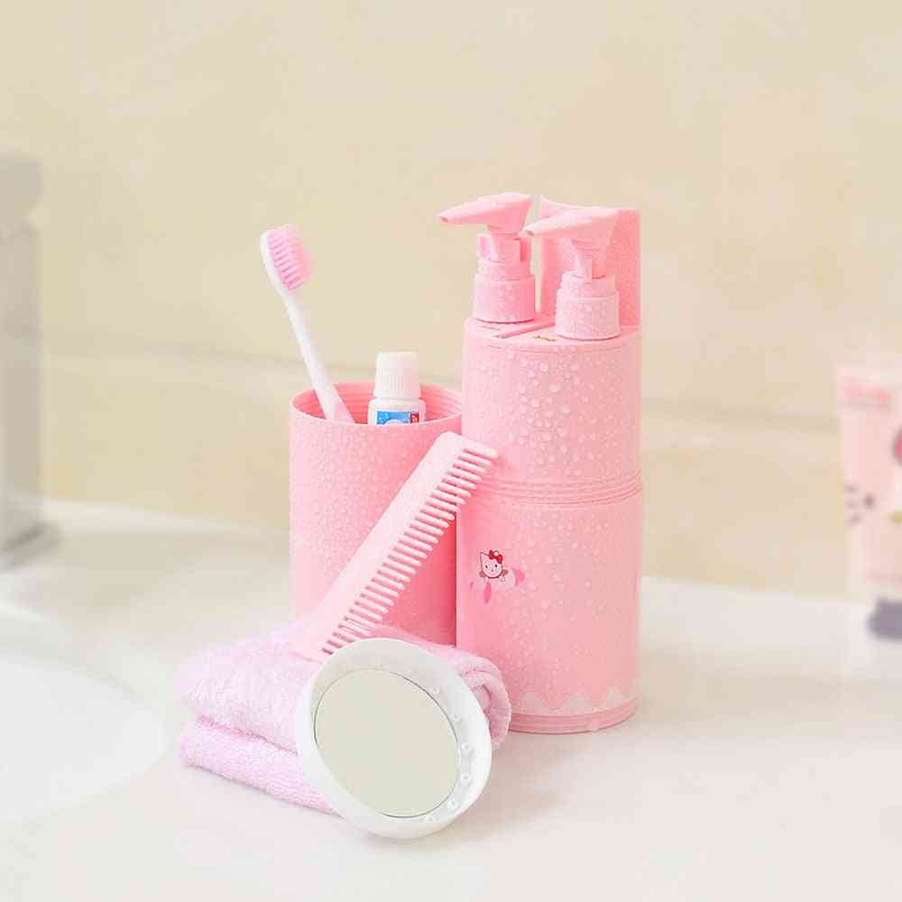 Portable Travel Toothbrush Cup, Partitioning Wash Toothpaste Holder, Storage Box