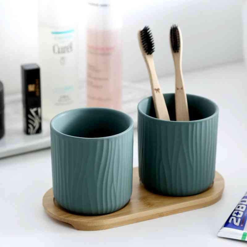 Ceramics Gargle Mug Cups Bathroom Set - Toothbrush Holders