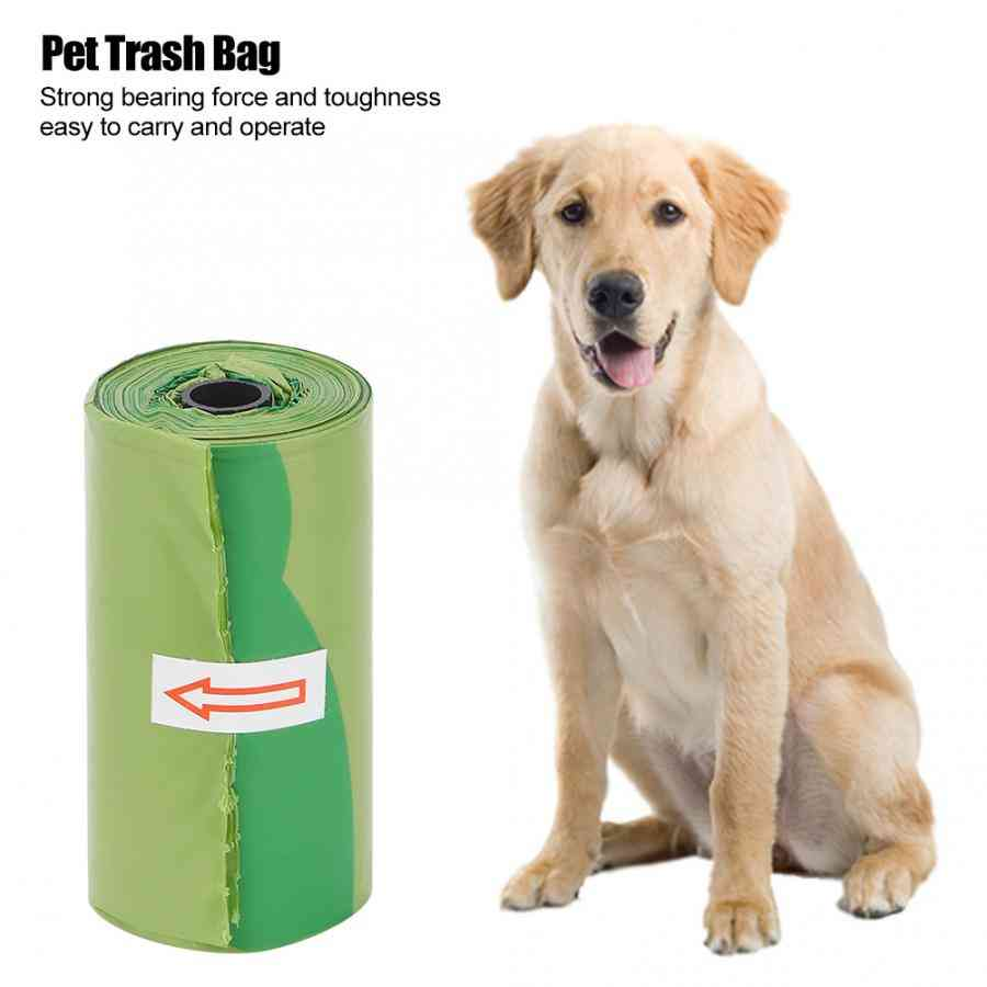 Green Thicken Plastic Durable Cleaning Waste, Garbage Bags For Pet, Dog, Cat