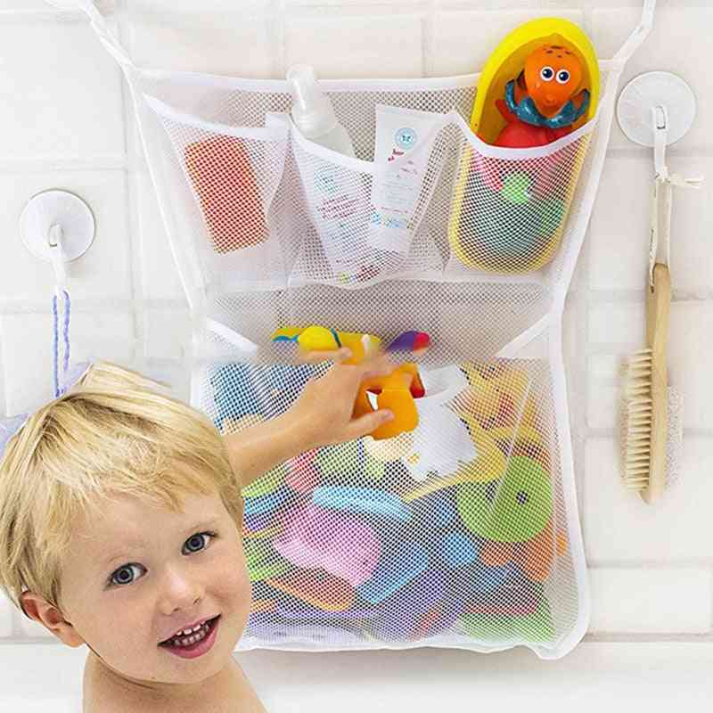 Baby Toy Storage Mesh Bag With Suction Cups - Bathtub, Doll Organizer For Bathroom