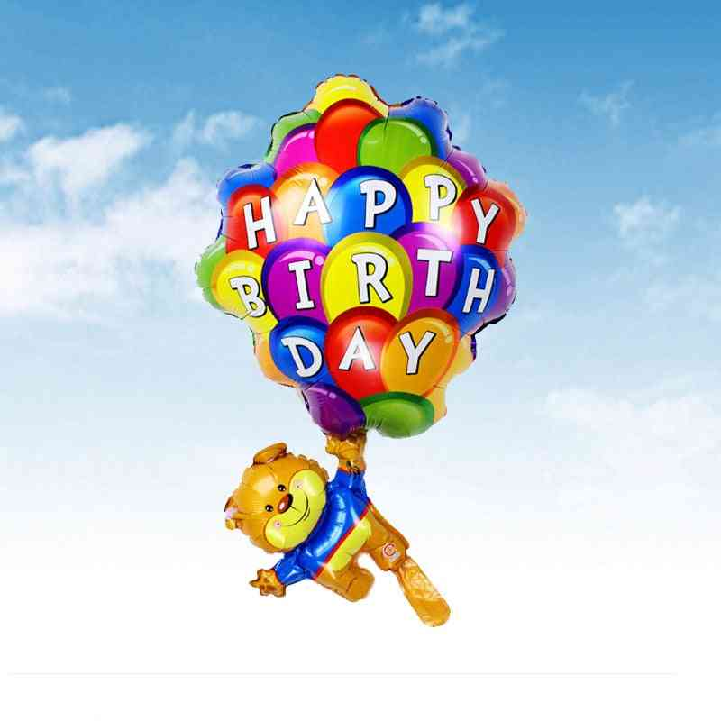 Cartoon Modeling Bear Parachute Balloons For Birthday Party Decoration
