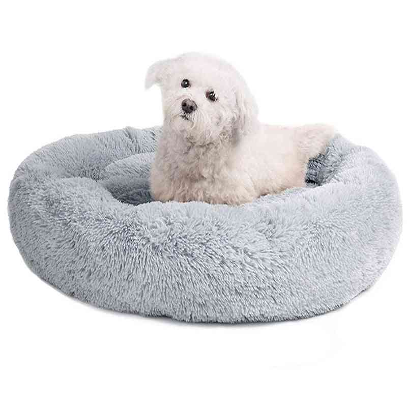 Round Bed Long Plush Basket For Dog