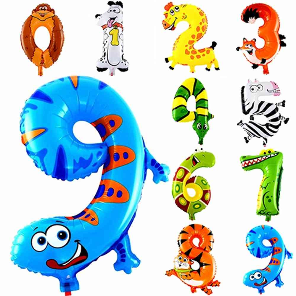Animal Cartoon, Number Foil Balloons Party Hat For Kids Birthday Party