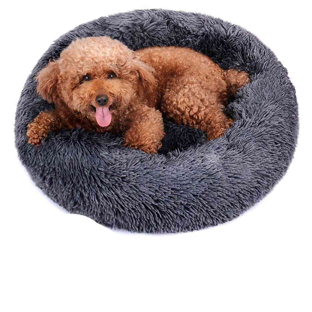 Round Plush Dog Bed - House Dog Mat, Winter Warm Sleeping