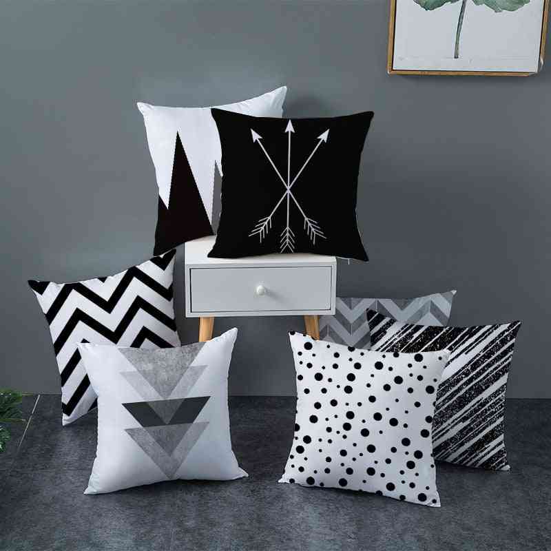 Black And White Polyester Throw Pillow Case Striped Dotted Grid Triangular Geometric Art Cushion Cover, Geometric Cushion Cover