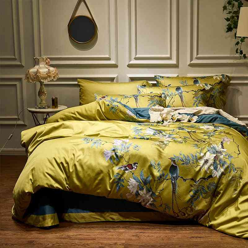 Hd Printed Birds Branch Printed Premium Egyptian Cotton Silky Soft Duvet Cover Family Size Us King Queen Bedding Set