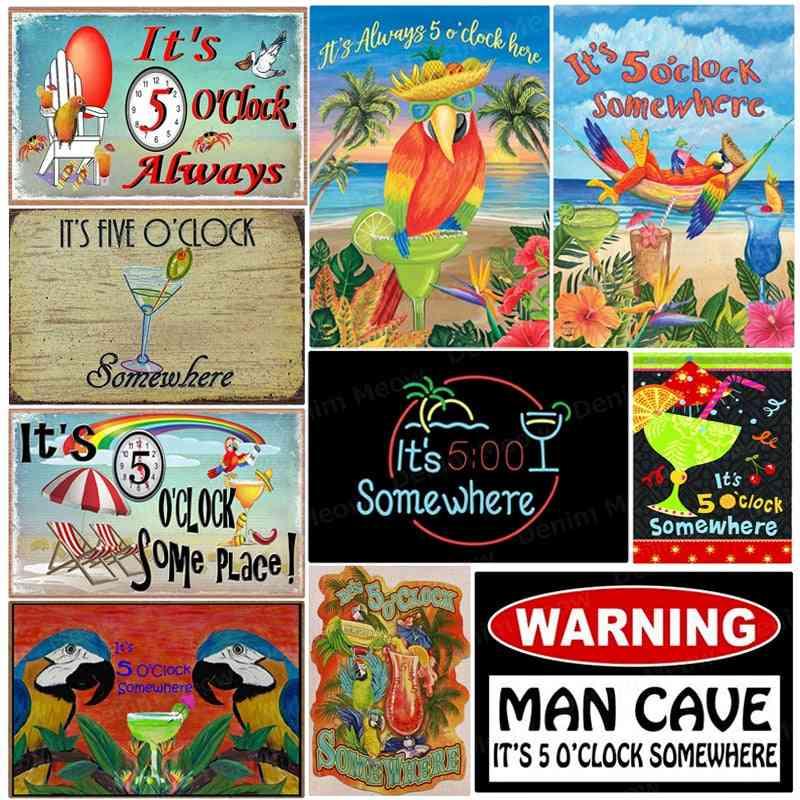 O'clock Metal Tin Signs Pub For Bar -man Cave Wall Stickers