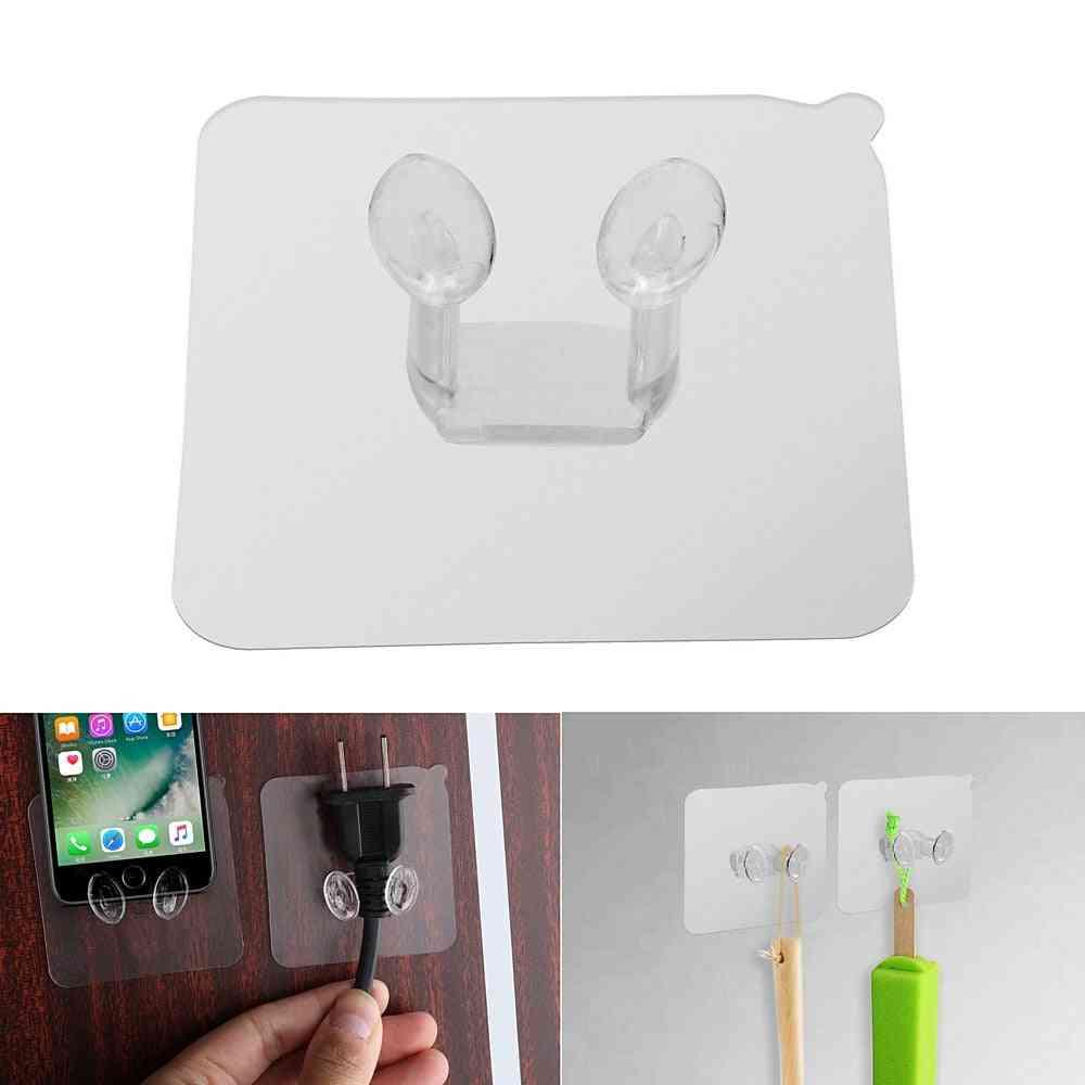 Strong Adhesive Power Plug Socket Hanger Holder - Wall Mounted Self Sticky Hooks
