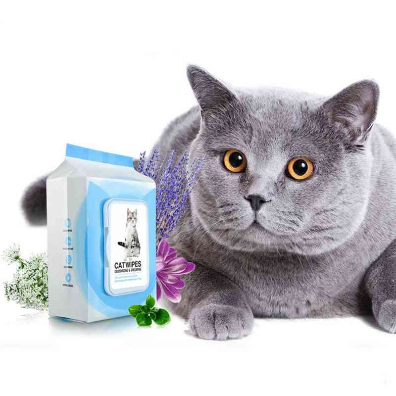 Gentle Non-intivating Deodorizing And Grooming Cat Wipes 100pcs