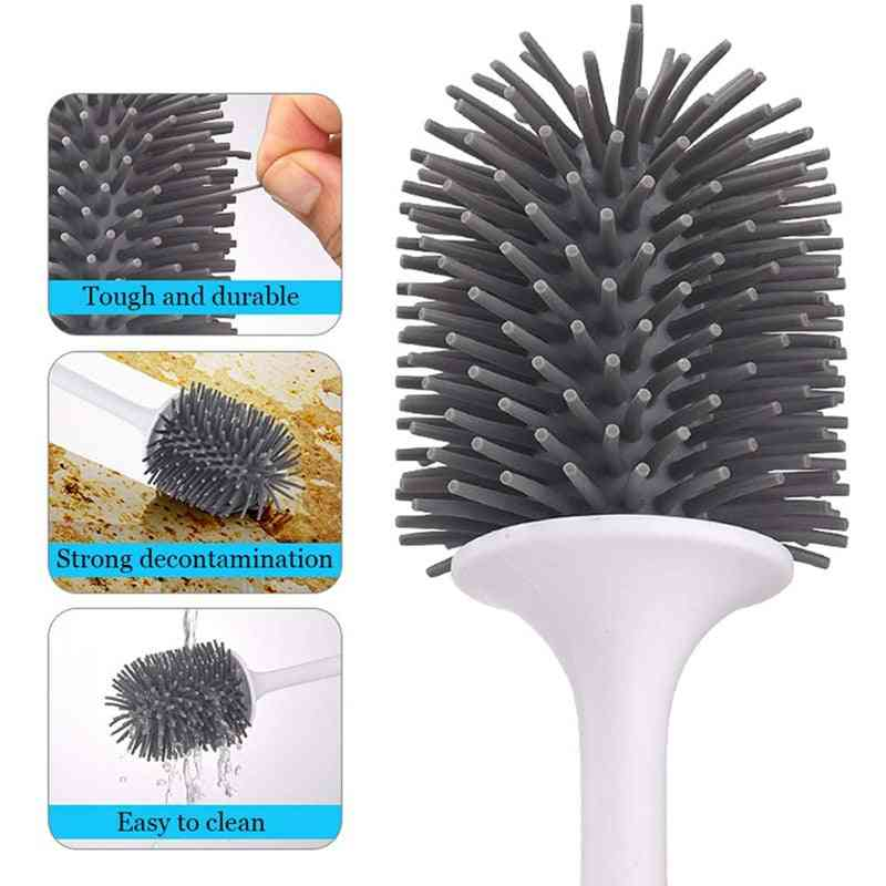 Toilet Brush, Rubber Head Holder Cleaning For Toilet, Wall