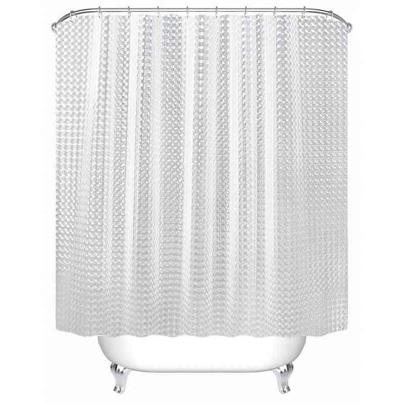Waterproof Shower Curtain - Transparent White Clear, Luxury Bath Curtain