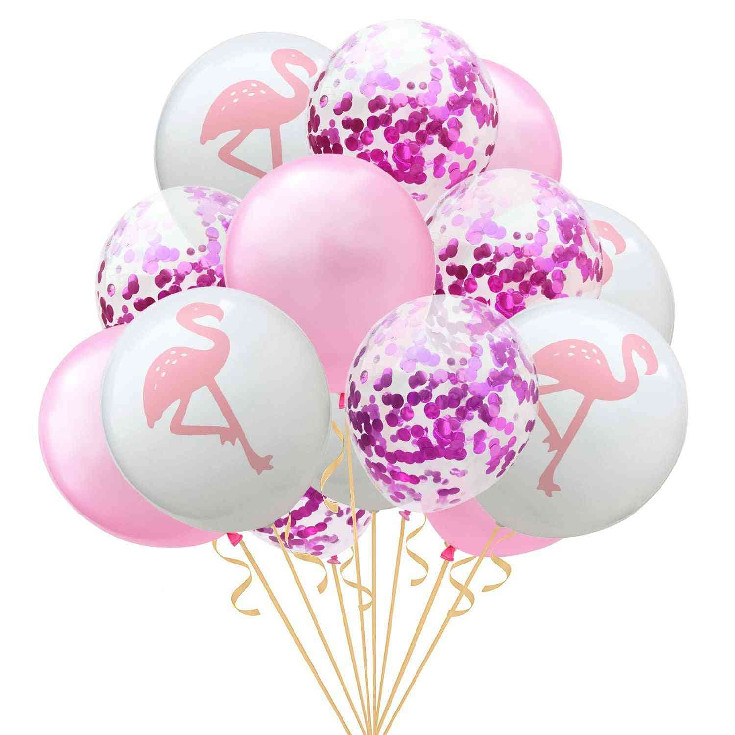 Inflatable Birthday Balloons - Decorated Confetti Party Flamingo, Pineapple And Leaf