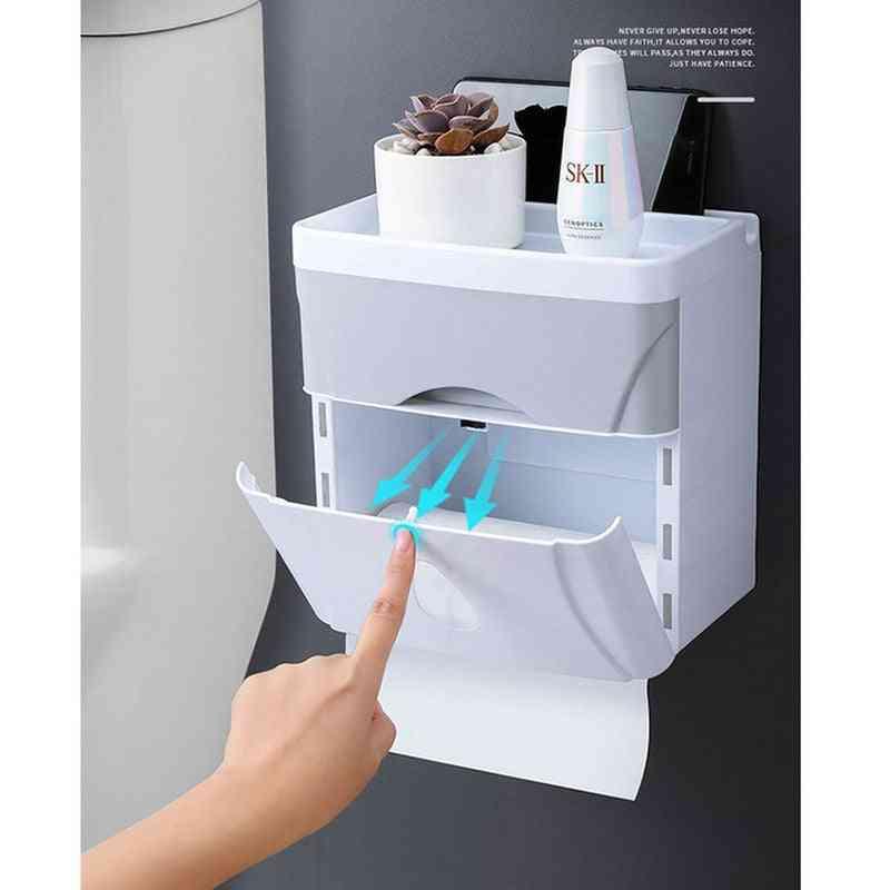 Waterproof Bathroom Toilet Paper Holder, Kitchen Wall Mounted Storage Organiser Tissue Box Roll Holder Tissuebox Dispenser