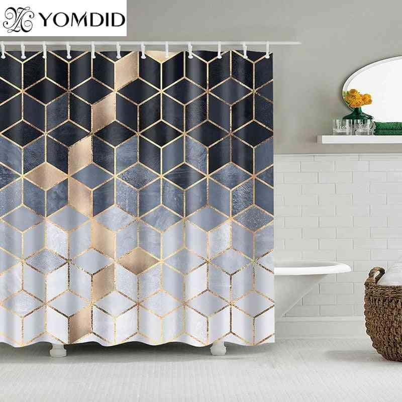 Marble Pattern Geometric Printed Waterproof Bath Shower Curtains For Bathroom