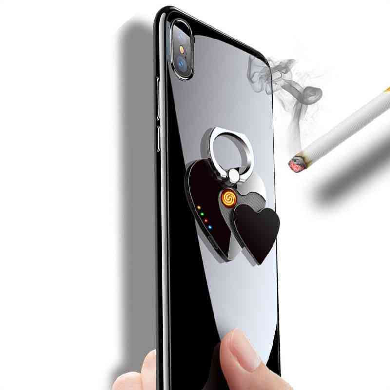 2 In 1, Creative Usb Cigarette Lighter With 360 Degree Mobile Ring Holder