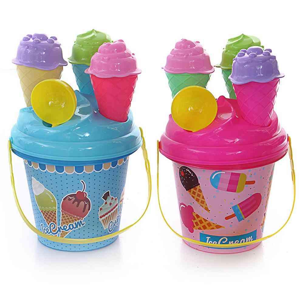 8pcs Outdoor Beach Ice Cream Bucket Ladle Model Play Sand Sandpit, Summer  Play Beach Sand  Toys For