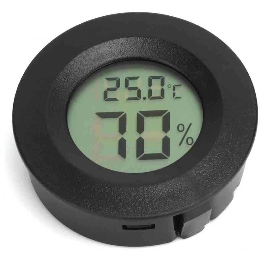 Embedded Round Shaped Digital Reptiles Thermometer, Hygrometer For Pet, Animal