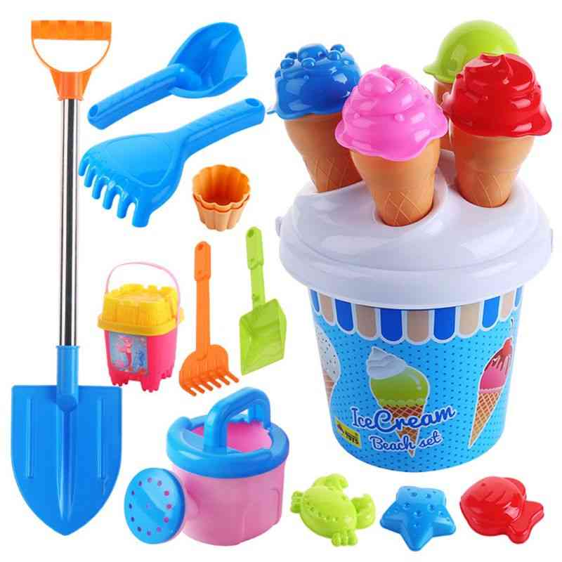 Beach Set Ice Cream And Cake Series Sand Mould Set, 13 Piece Toys  Set