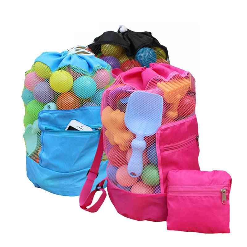 Portable Sea Storage Mesh Bags Beach Sand- Net Bag Water Fun Sports Bathroom Clothes Towels Backpacks / Kids