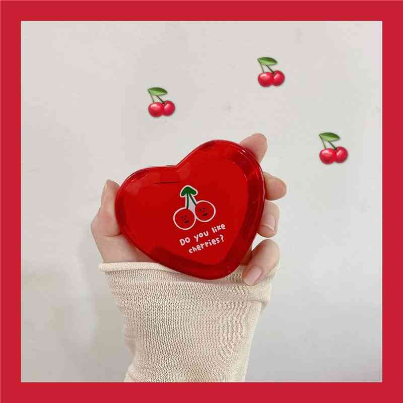 Mini Portable Double Sided Folding Heart Shaped Cherry Makeup Pocket Mirror