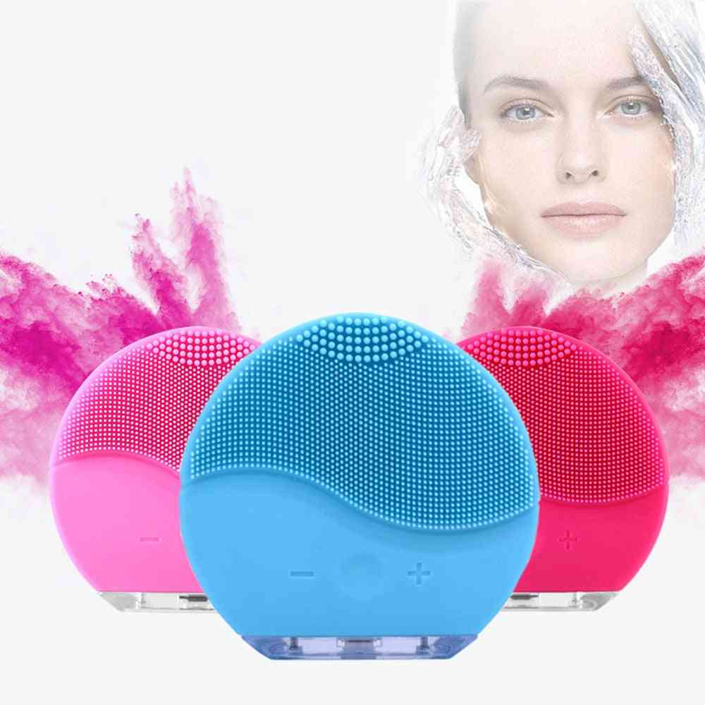 Face Cleansing Pad -mini Electric Brush Silicone Face Cleaner, Deep Pore Cleansing, Waterproof With Usb Charger