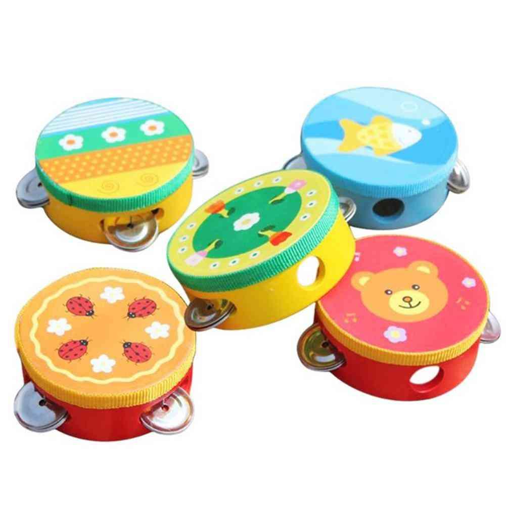 Cartoon Wooden Handheld Tambourine Jingle Percussion Musical Instrument Kids Toy (random Style)