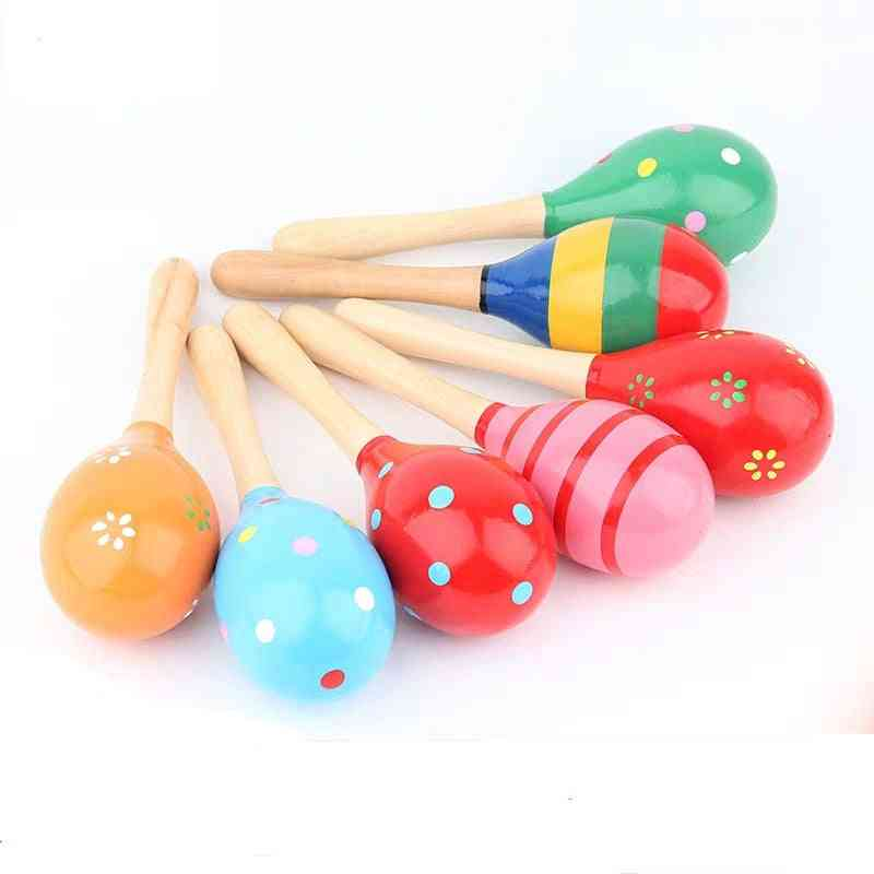 Infant Toddlers Wood Sand Hammer- Wooden Maraca Rattles