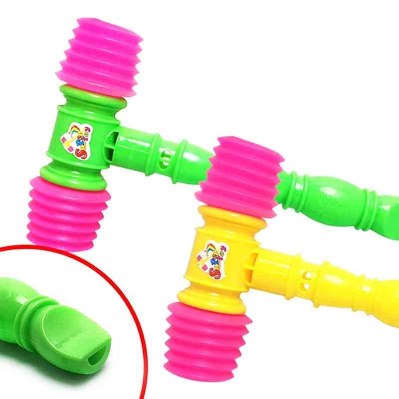 25cm Fun Noise Maker Plastic Durable Handle Hammer, Built In Whistle Kids Plastic Noisy Whistle Toy (red)