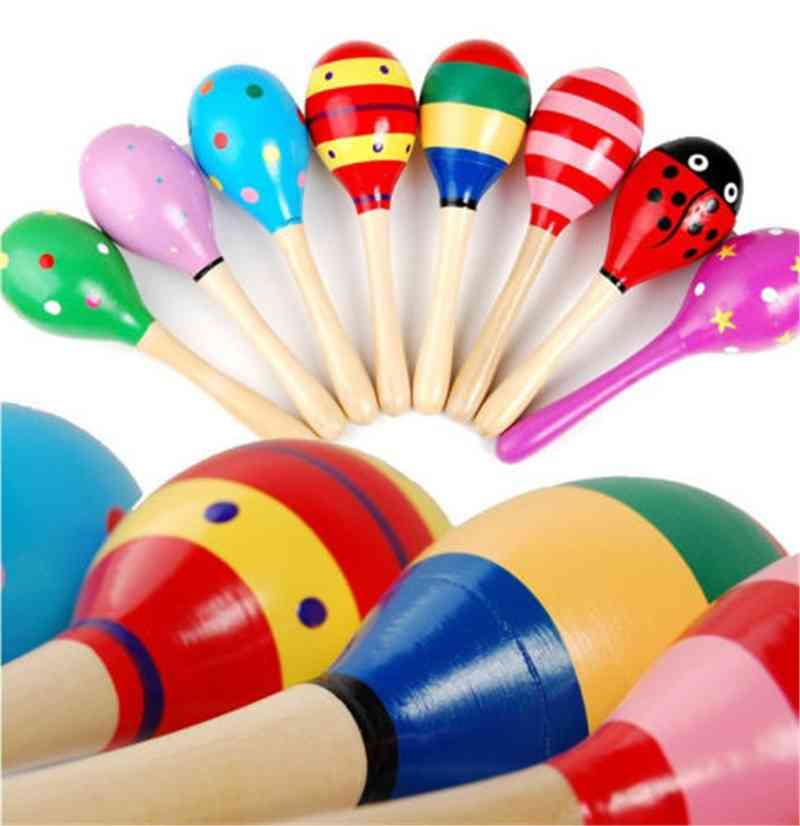 Wooden Newest Colorful Maracas Baby / Child Musical Instrument Rattle Shaker Party Toy