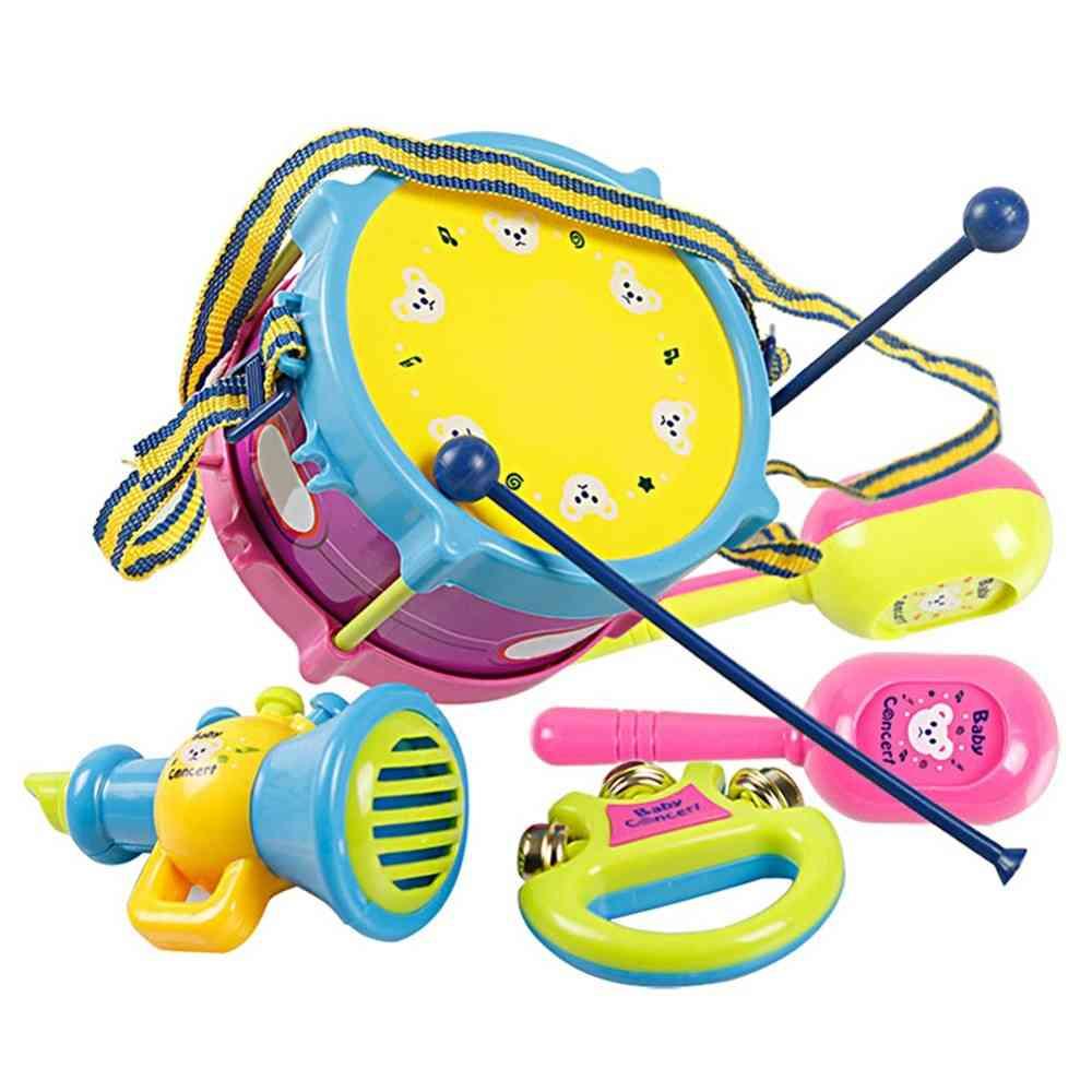 Kids Roll Drum Band Kit Noise Maker- Handbell Trumpet Sand Hammer Musical Instruments