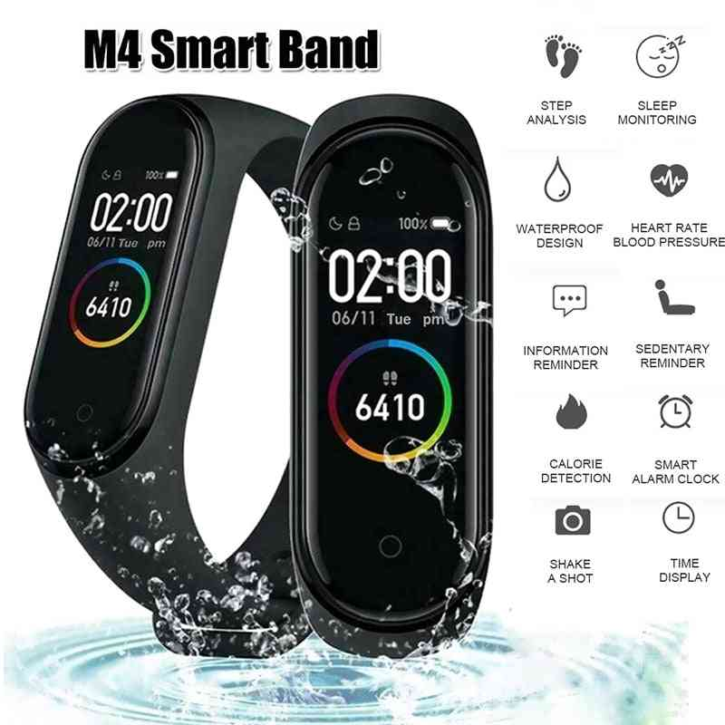 M4 Color Screen Smart Wristband, Heart Rate Monitor, Fitness Activity Tracker Band, Blood Pressure