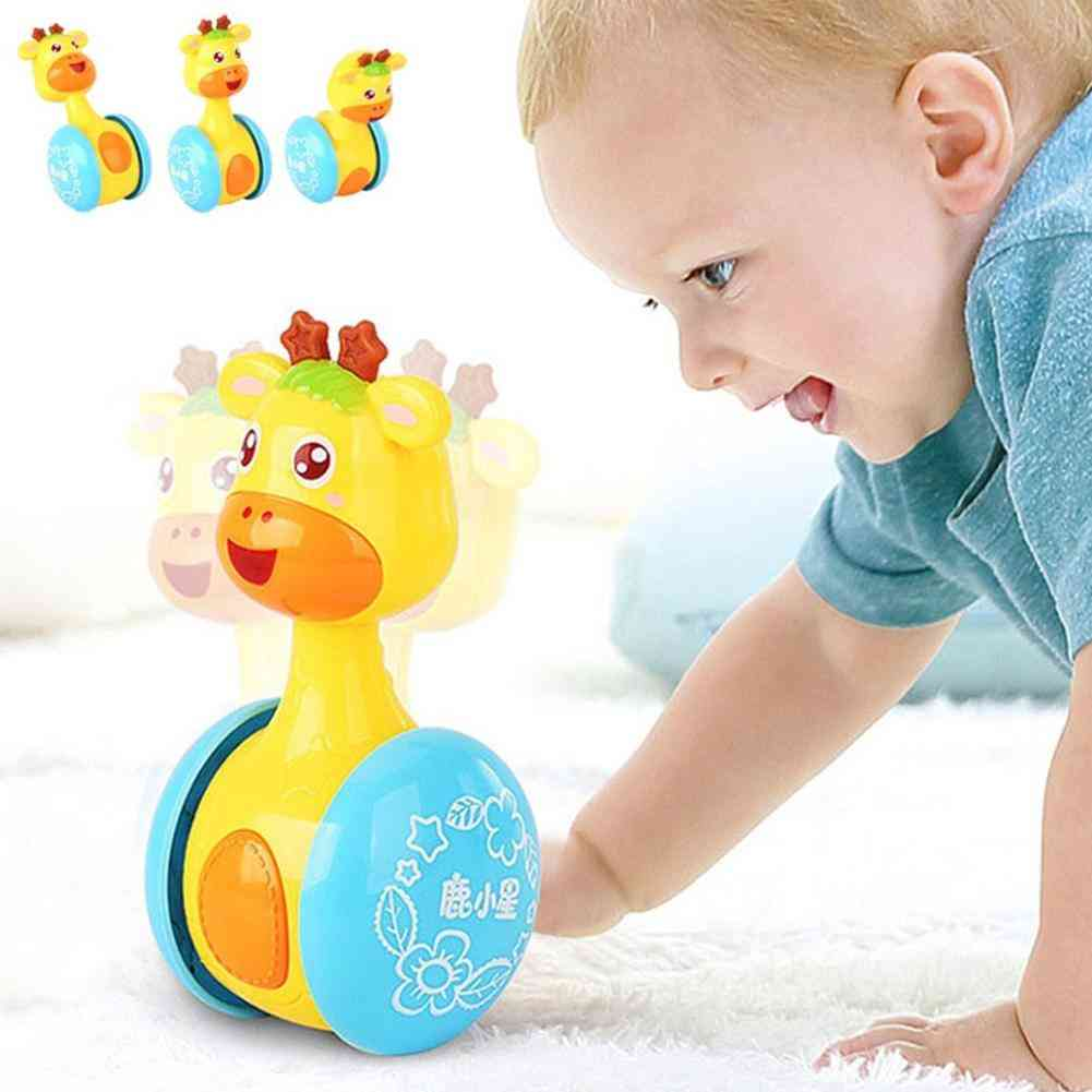 Baby Cute Cartoon Environmental Protection Printing Technology- Deer Rattles Tumbler Doll, Bell Music Learning Educational Toy (1)