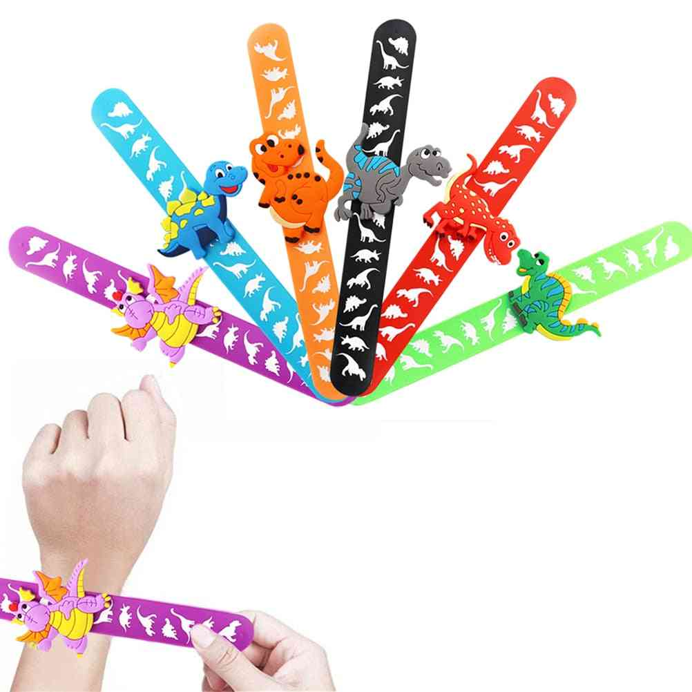 6pcs Dinosaur Rubber Slap Bracelet- Kids Wristband Flexible Wrap Slap Enfant Bangle Christmas (as Photo Shown)
