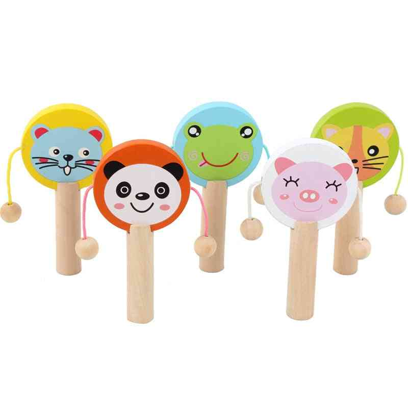 Cartoon Wooden Rattle, Wooden Rattle Drum Musical Instrument Percussion Child Early Education Tool