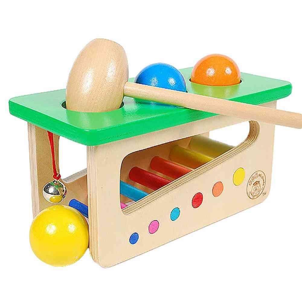 Wooden Knocking Hammer, Rolling Ball Jingle Bell Kids Music Developmental Toy (green)