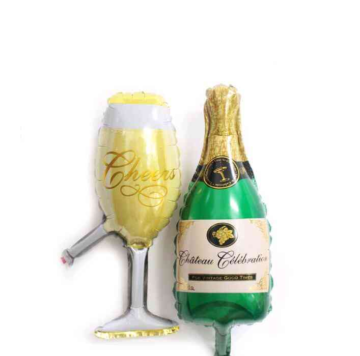 Wine Bottle & Glass - Cross Border Aluminum Film Balloon For Party Decoration
