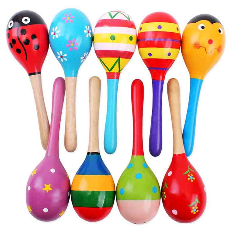 Colorful Wooden, Musical Instruments Baby Toy- Montessori Rattle Shaker For Babies  Brinquedos