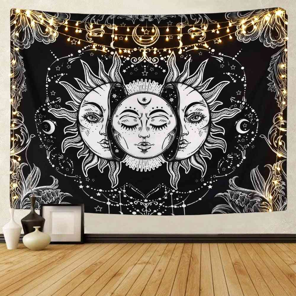 White Black Sun Moon Mandala Wall Hanging Celestial Tapestry - Hippie Wall Carpets Dorm Decor Psychedelic Tapestry