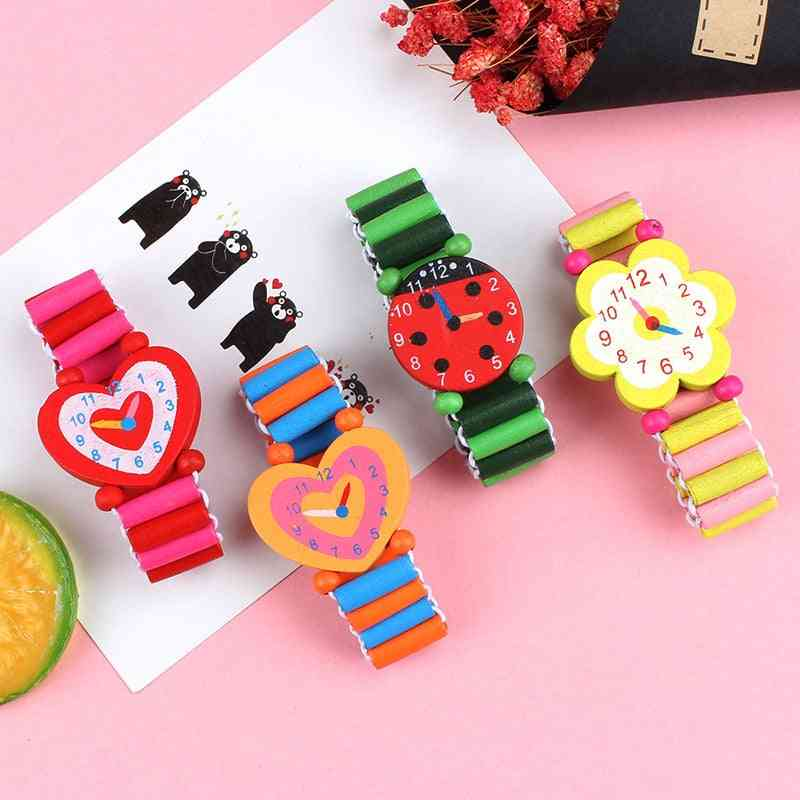 3pcs Lot Wooden Wristwatches Nice Cartoon Crafts Bracelet Watches Handicrafts For Kids- Learning & Education Party Favors (3 Pcs Random Style)