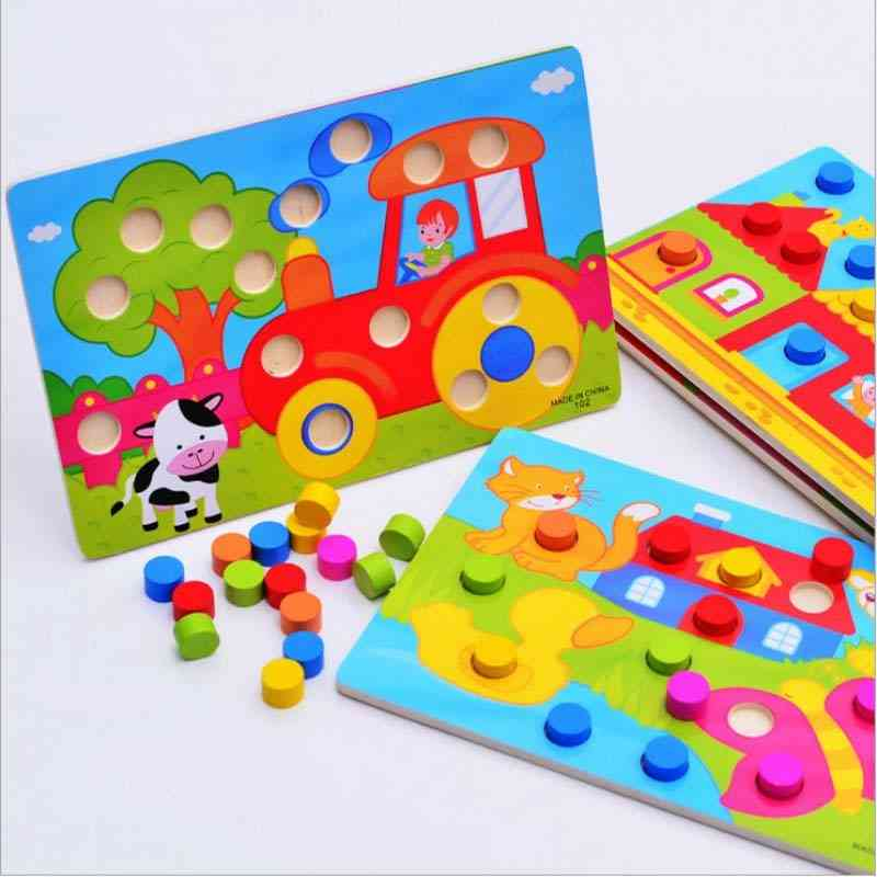 Color Cognition Board Montessori Educational, Wooden Toy For- Jigsaw Early Learning Match Game Cl0545h