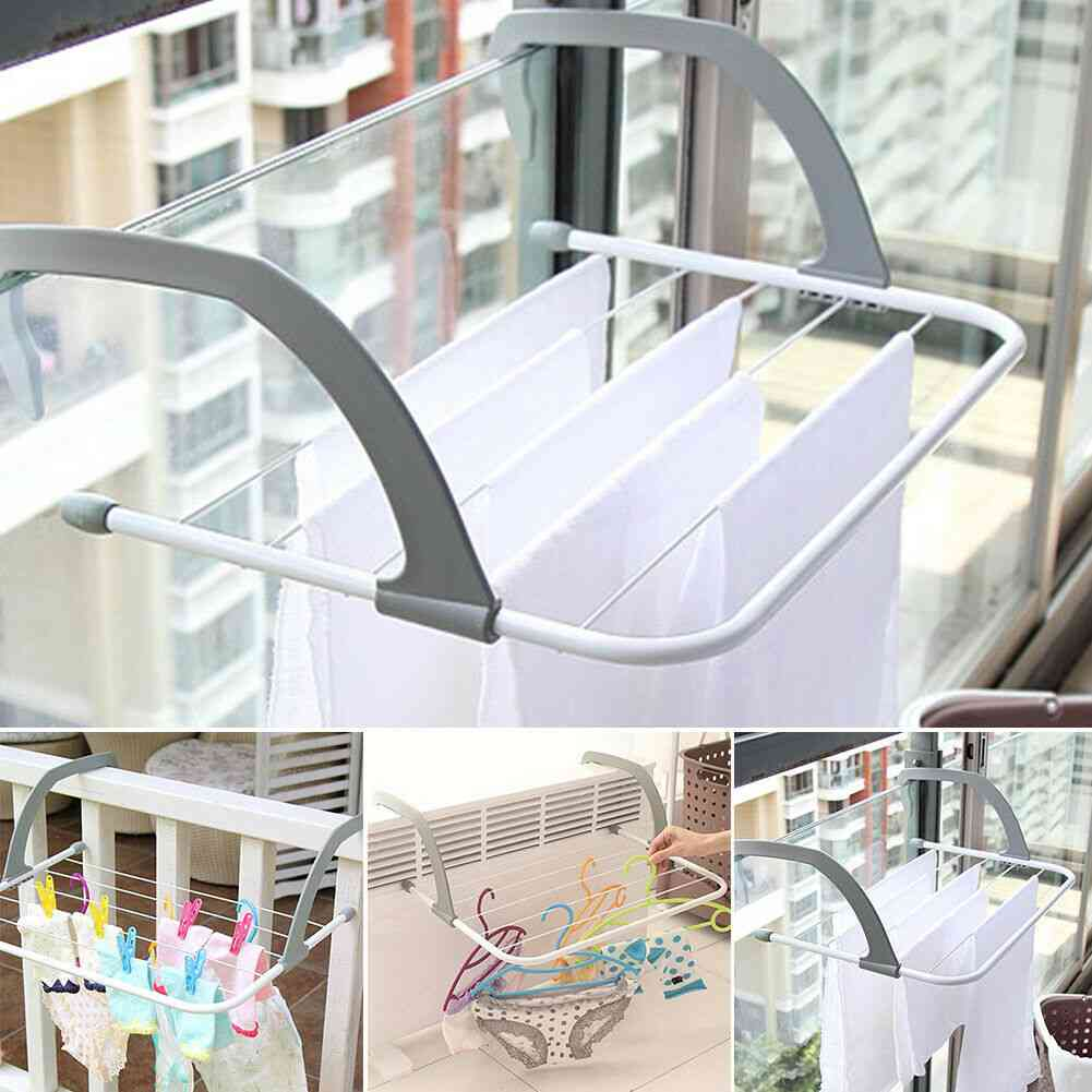 5 Rail Towel Bar Holder, Clothes Folding Pole, Airer Dryer, Drying Rack For Home Decoration