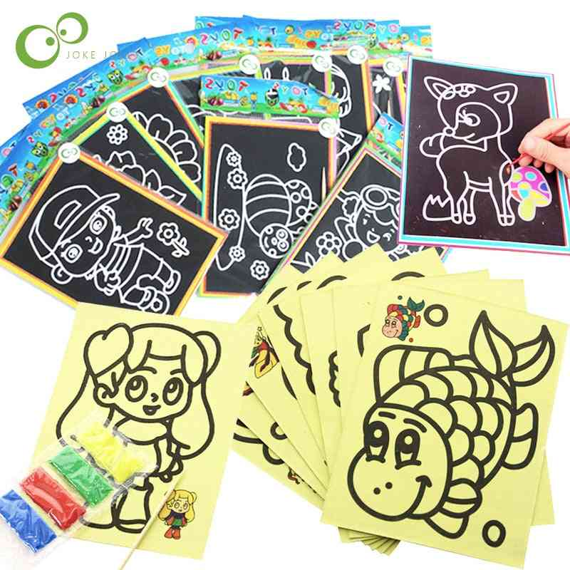 20pcs Early Educational Learning Creative Drawing For- Magic Scratch Art Doodle Pad Sand Painting Cards Gyh