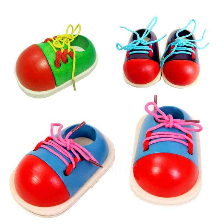 Montessori Educational Wooden- Toddler Lacing Shoes