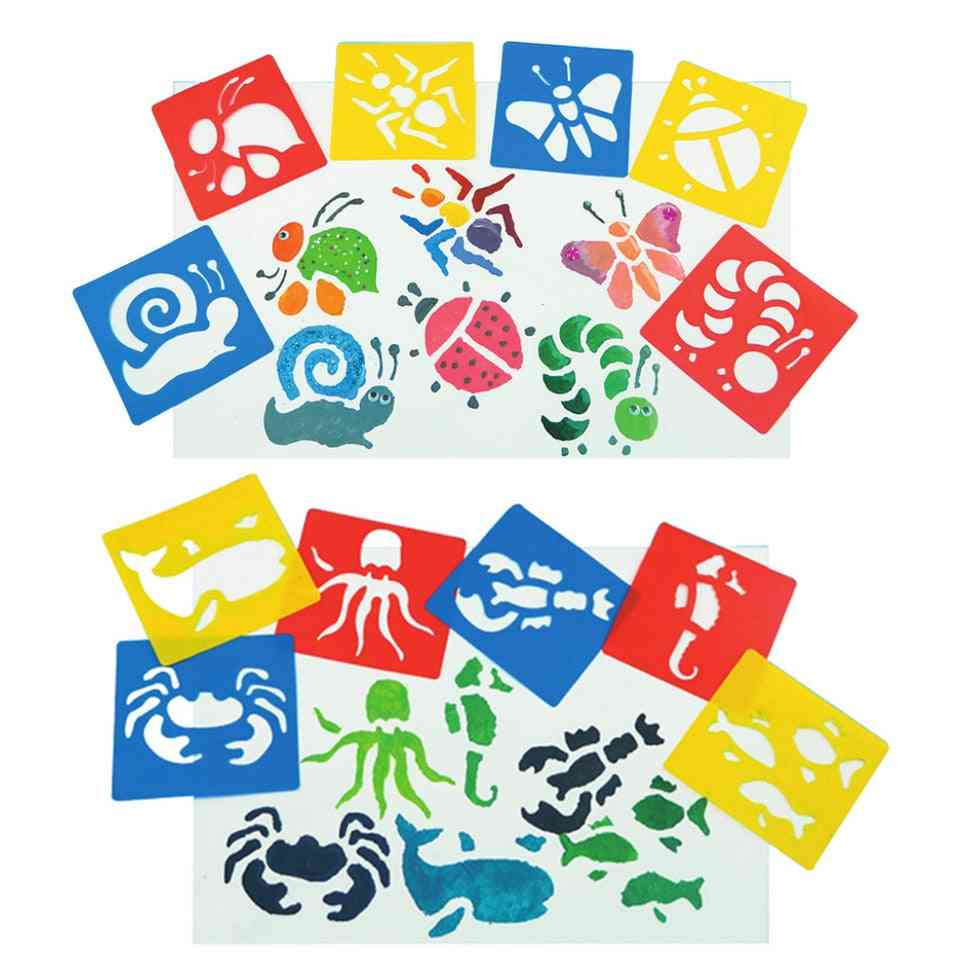 Diy Painting Dinosaur Animal Car- Template Pattern Stencils Suit Kids Painting Early Educational Toy