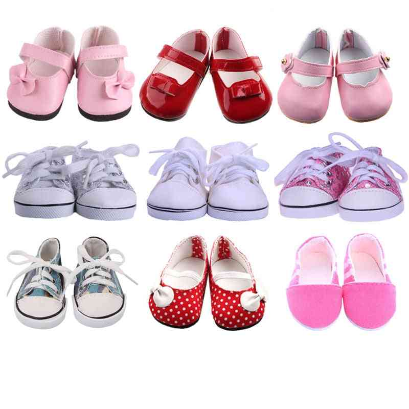 White Tube Canvas Clothes Shoes For American & New Born Baby Doll
