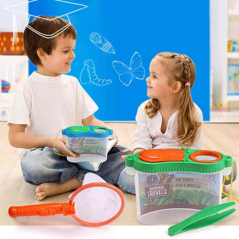 Backyard Exploration Bug Catchers Toy Kit - Includes Butterfly, Net Tweezers, Insect Carrier With Magnification Windows