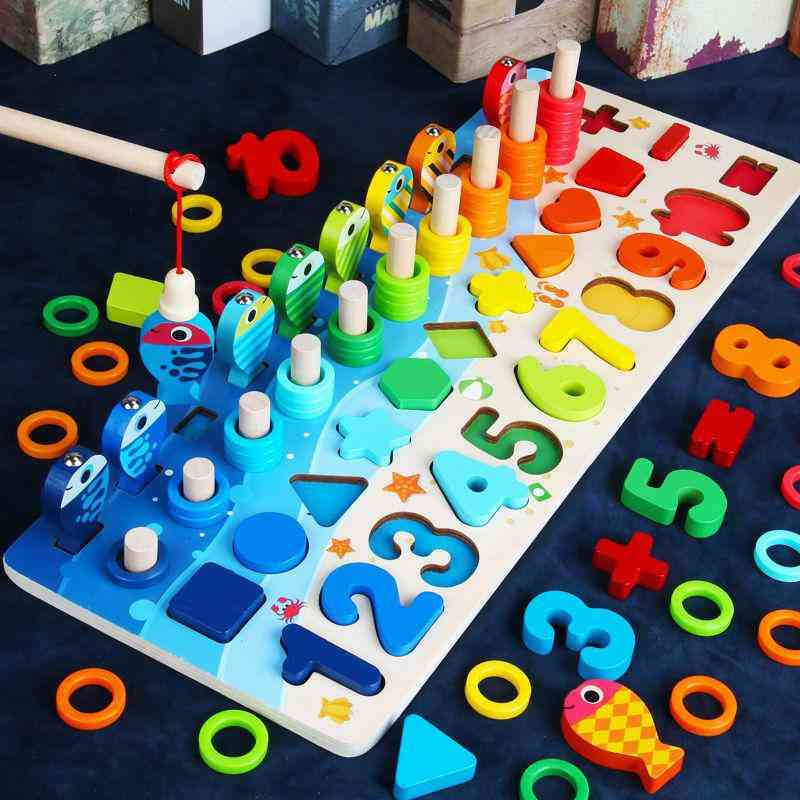 Kids Educational Wooden, 5 In 1 Fishing Count Numbers