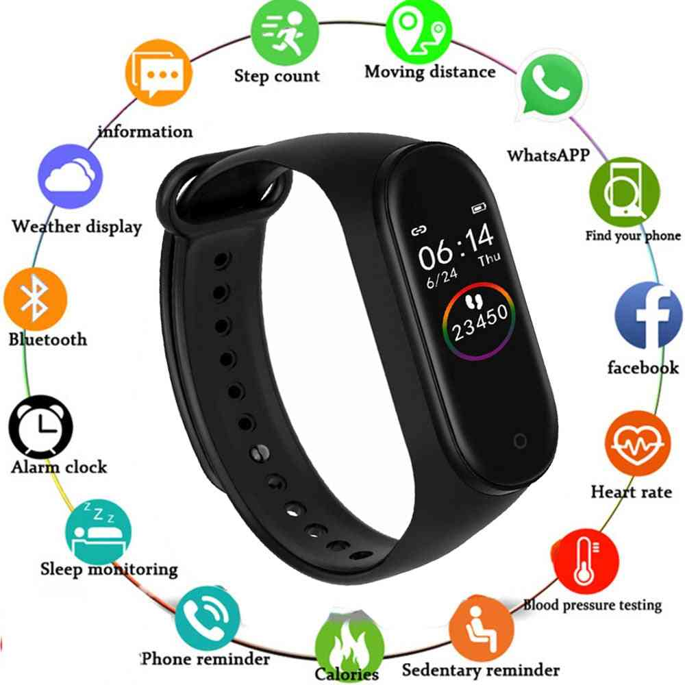 M4 Smart Bracelet Fitness Activity Tracker, Heart Rate Monitor, Blood Pressure Wristband Call Message Reminder Band