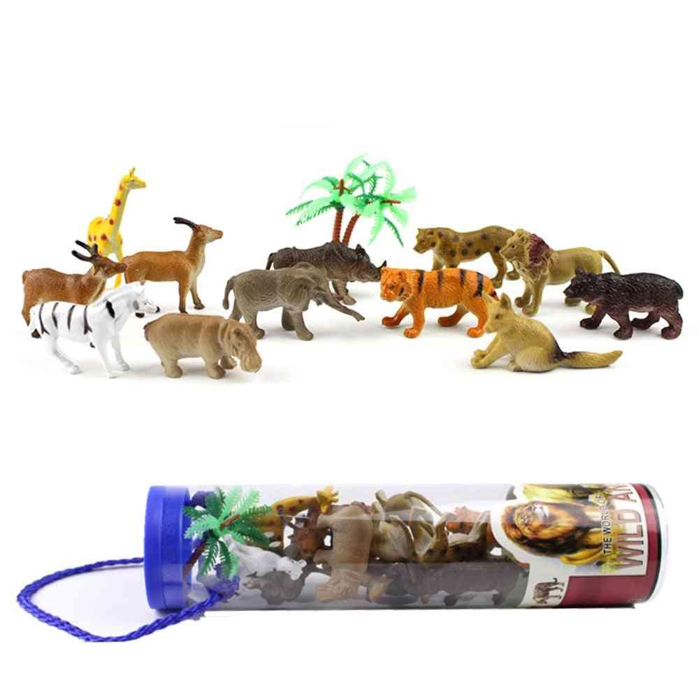 Mini Plastics Simulation Farm With Animals Horse Sheep -toys For Kids